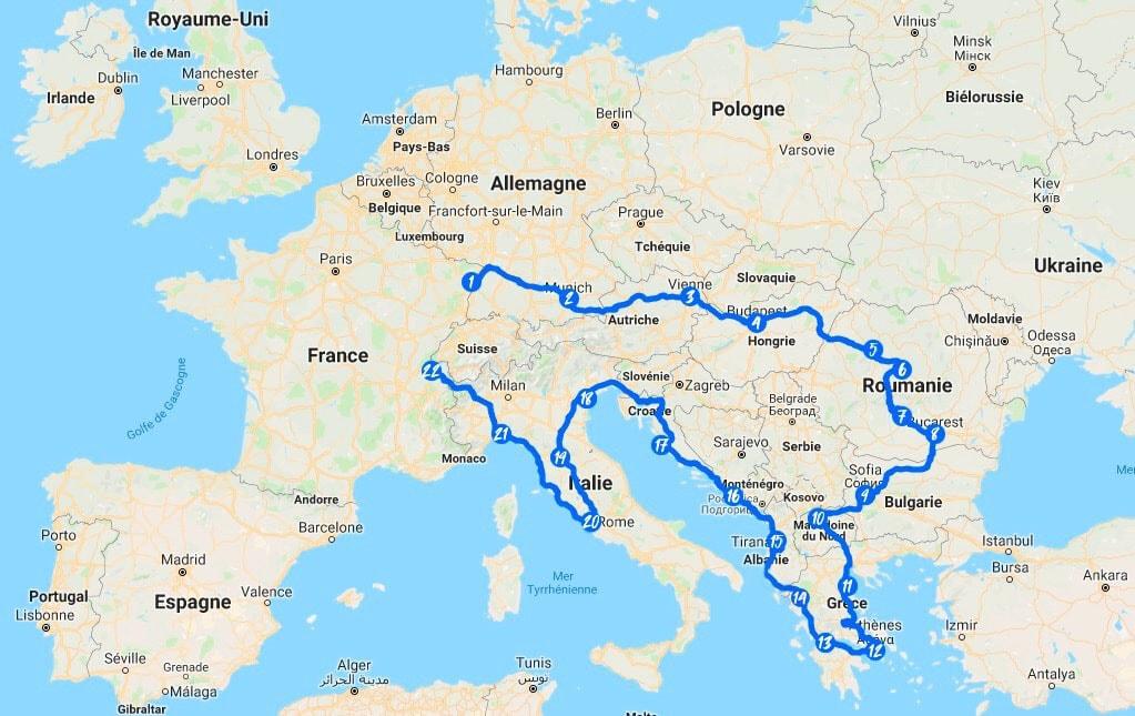 Itinéraire du blue rallye europe
